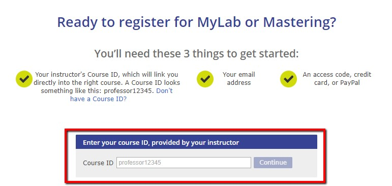 Enter your Instructors Course ID
